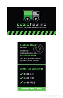 cubic hauling business card